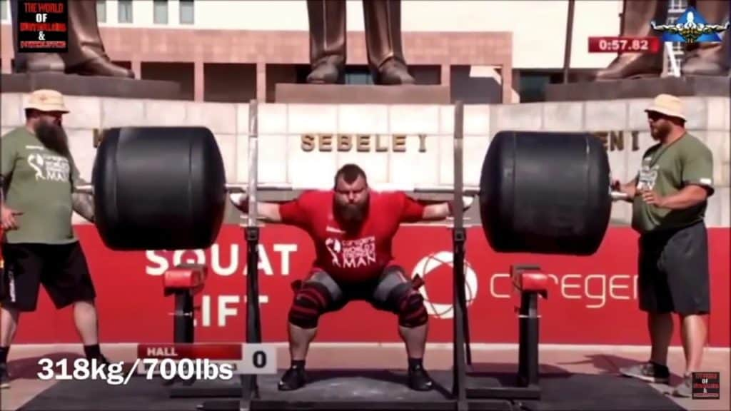 Eddie Hall squatting 700lbs